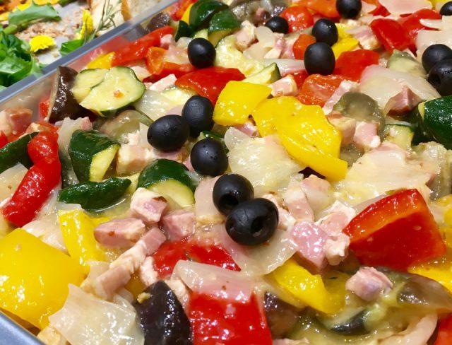 地中海野菜とベーコンのバターソテー