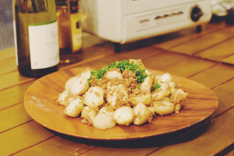 里芋とひき肉の甘辛炒め