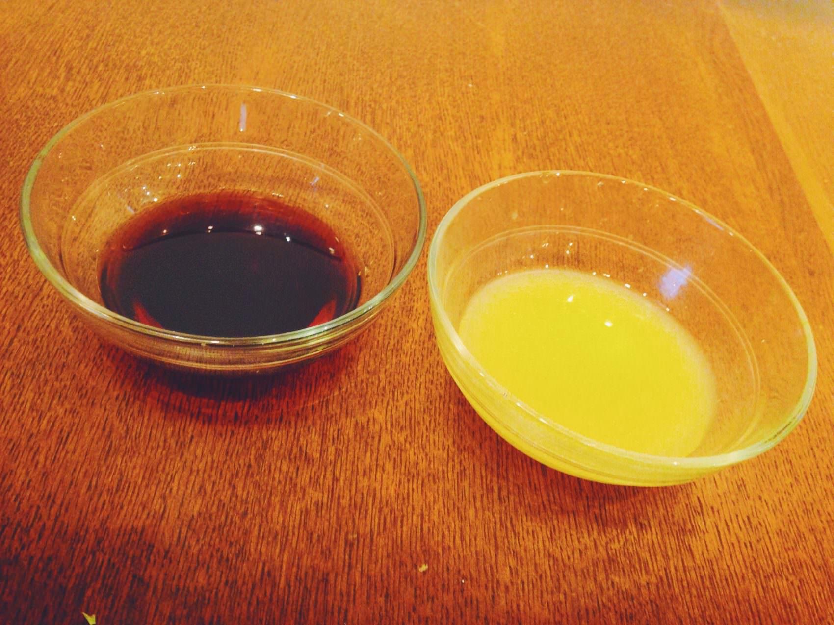 醤油とオレンジ果汁