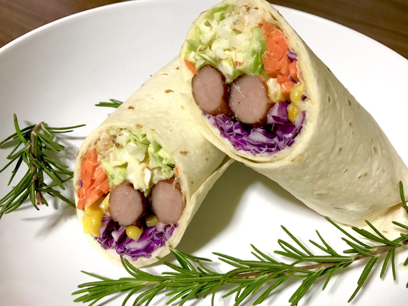 ヘルシー野菜とソーセージのオーロラソーストルティーヤ