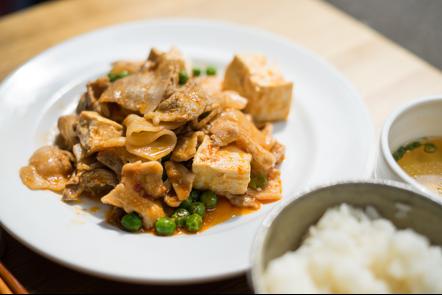 豚肉と豆腐のチリソース