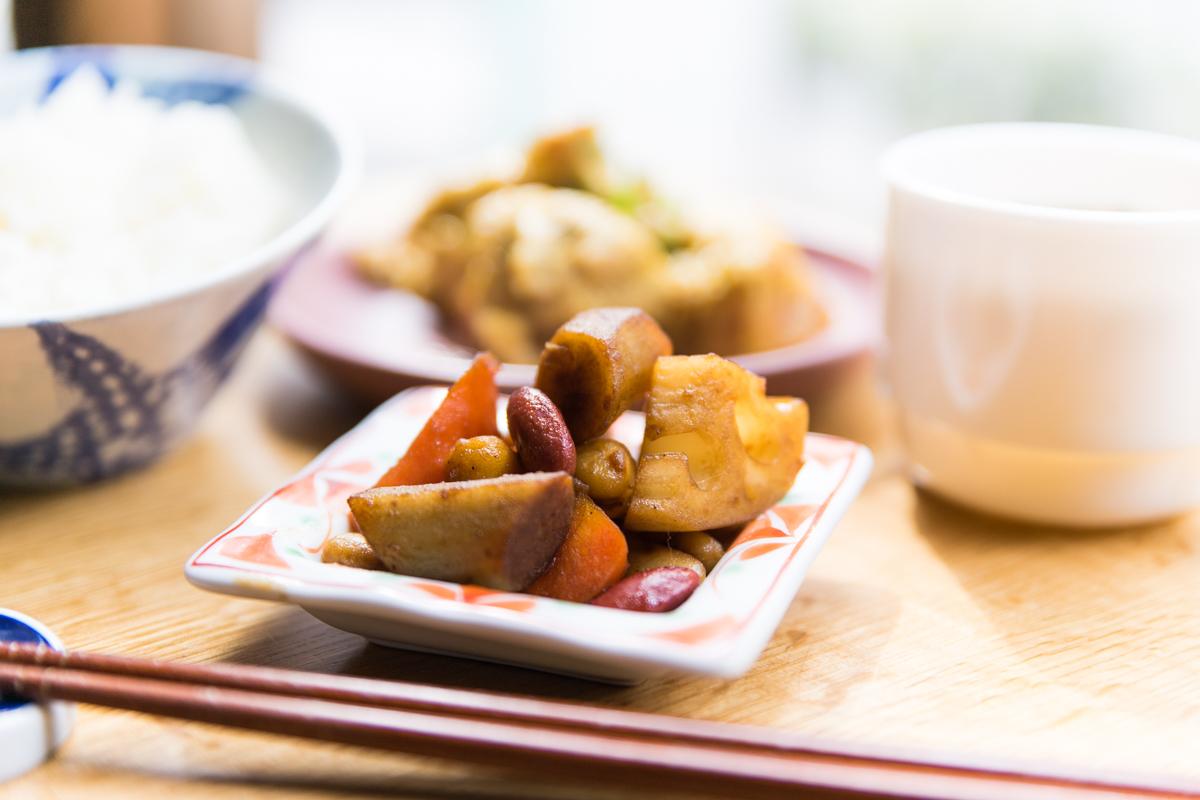 根菜といろいろ豆のバルサミコソテー